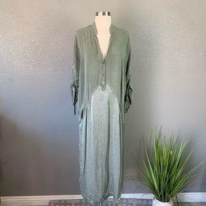 XCVI Satin panel sage shirt dress large